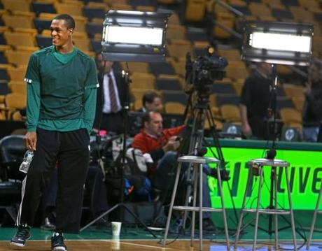 Rajon Rondo, shown on Jan. 24, will be out of a Celtics uniform for many months after injuring his knee.